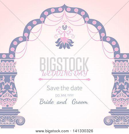 Postcard invitation to wedding.Frame vintage archway ornate, royal architecture