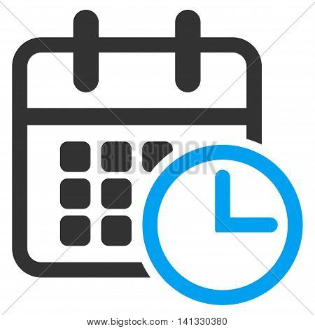 Timetable vector icon. Style is bicolor flat symbol, blue and gray colors, rounded angles, white background.