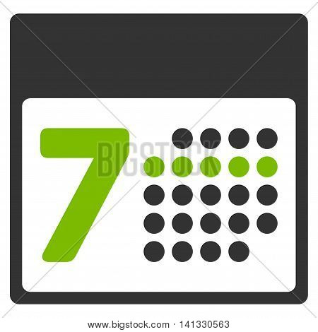 Organizer Week vector icon. Style is bicolor flat symbol, eco green and gray colors, rounded angles, white background.