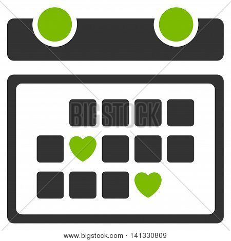 Favourite Days vector icon. Style is bicolor flat symbol, eco green and gray colors, rounded angles, white background.