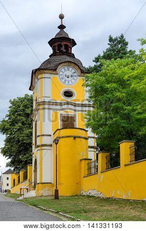 SPISSKA KAPITULA SLOVAKIA - AUGUST 18 2015: Clock tower in the town church Spisska Kapitula Slovakia.