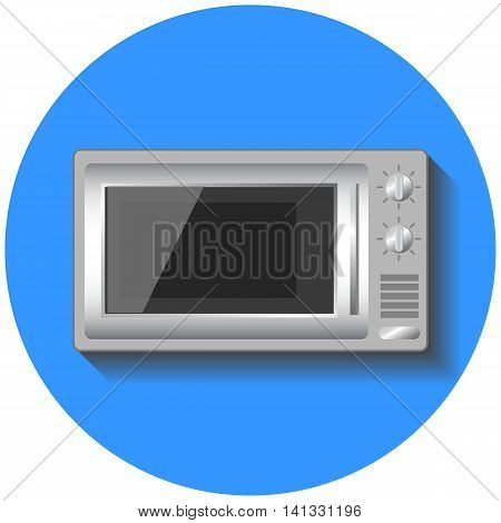 Microwave oven vector illustration in flat style. Small home appliance icon. Microwave warmer on round blue background. Isolated image of SHF. Realistic style kitchen ware. Modern house technology