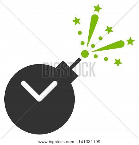 Time Fireworks Charge vector icon. Style is bicolor flat symbol, eco green and gray colors, rounded angles, white background.