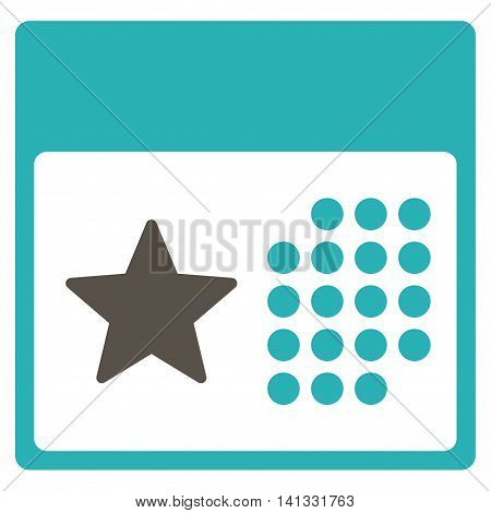 Holiday Binder vector icon. Style is bicolor flat symbol, grey and cyan colors, rounded angles, white background.