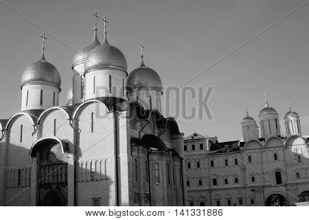 Assumption church in winter. Moscow Kremlin. UNESCO World Heritage Site. Black and white photo