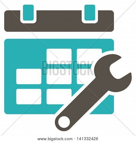 Timetable Adjustment vector icon. Style is bicolor flat symbol, grey and cyan colors, rounded angles, white background.