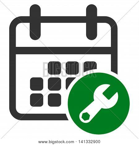 Appointment Setup vector icon. Style is bicolor flat symbol, green and gray colors, rounded angles, white background.