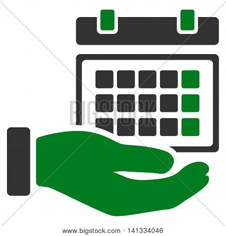 Service Timetable vector icon. Style is bicolor flat symbol, green and gray colors, rounded angles, white background.