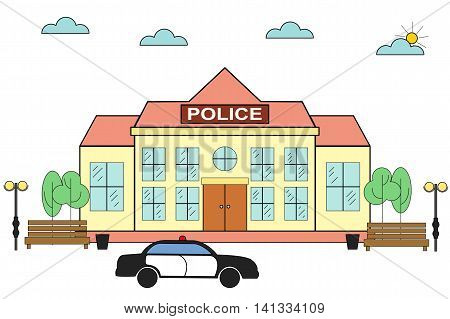 Linear (flat) police station. Linear police station with police car, benches, trees and lights