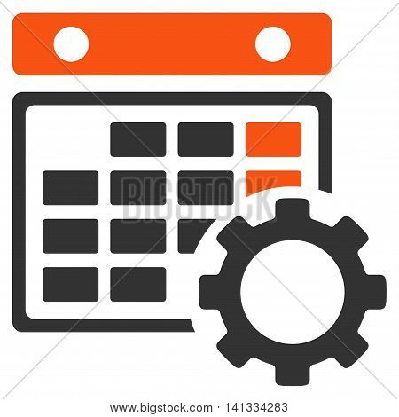 Organizer Settings vector icon. Style is bicolor flat symbol, orange and gray colors, rounded angles, white background.