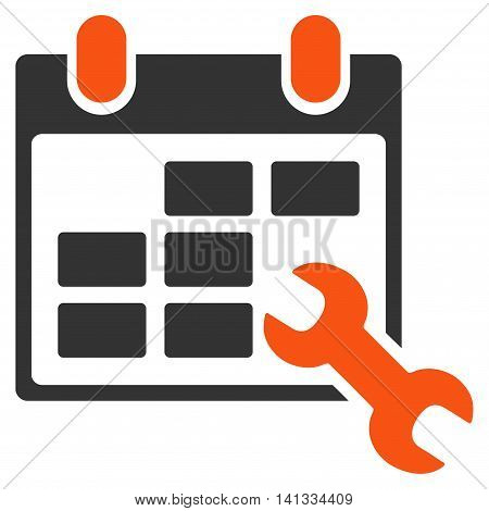 Configure Timetable vector icon. Style is bicolor flat symbol, orange and gray colors, rounded angles, white background.