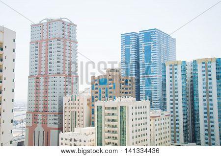 Residential area in Sharjah United Arab Emirates. Skyscrapers in UAE