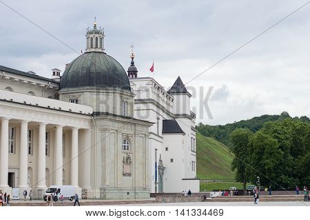 CATHEDRAL SQUARE VILNIUS LITHUANIA - JULY 2016: Vilnius Cathedral Square during daytime.The Cathedral of Vilnius. Cathedral Basilica of St Stanislaus and St Vladislav