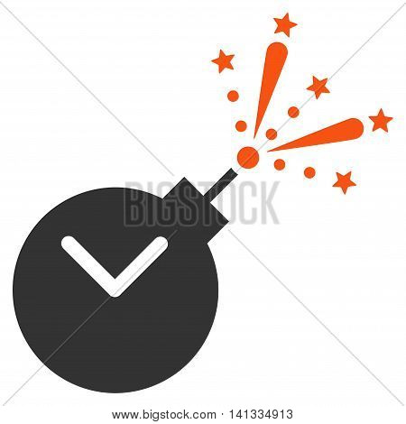 Time Fireworks Charge vector icon. Style is bicolor flat symbol, orange and gray colors, rounded angles, white background.