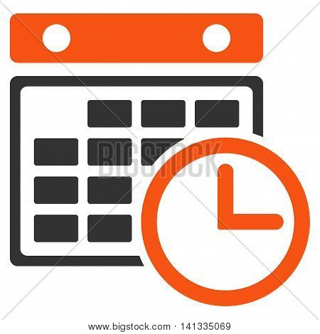 Timetable vector icon. Style is bicolor flat symbol, orange and gray colors, rounded angles, white background.
