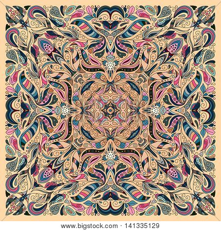 Vector ornament floral Bandana Print, silk neck scarf or kerchief square pattern design style for fabric. Apparel art. Pink beige blue.