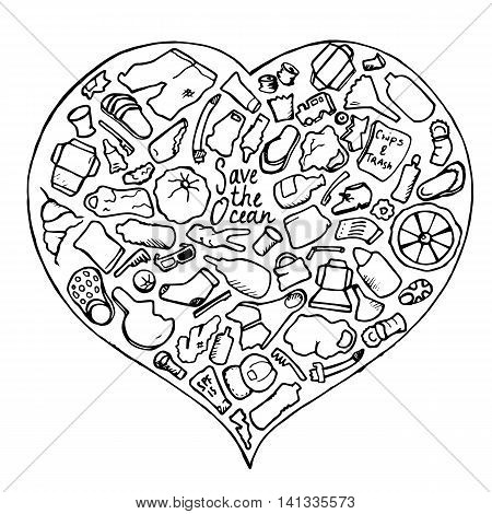 Ocean trash vector illustration in doodle style. Hand-drawn image for Earth day. Keep clean banner template. Trash icon in black and white. Monochrome doodle style drawing. Outlined heart for coloring