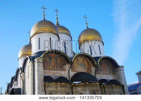 Assumption church in winter. Moscow Kremlin. UNESCO World Heritage Site.