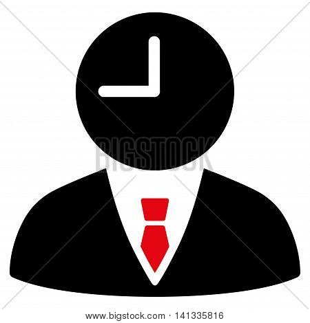 Time Manager vector icon. Style is bicolor flat symbol, intensive red and black colors, rounded angles, white background.