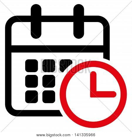 Timetable vector icon. Style is bicolor flat symbol, intensive red and black colors, rounded angles, white background.
