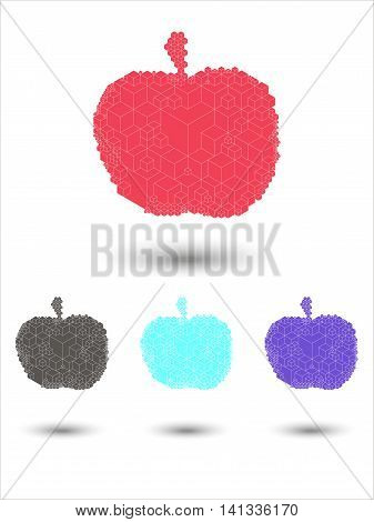 Bright cubic apple fruit  unique modern monochrome vector icon set. Easy to edit and recolor. Apple fruit geometric icon set for web or print use.