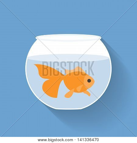 Gold fish in bowl, flat design with long shadow