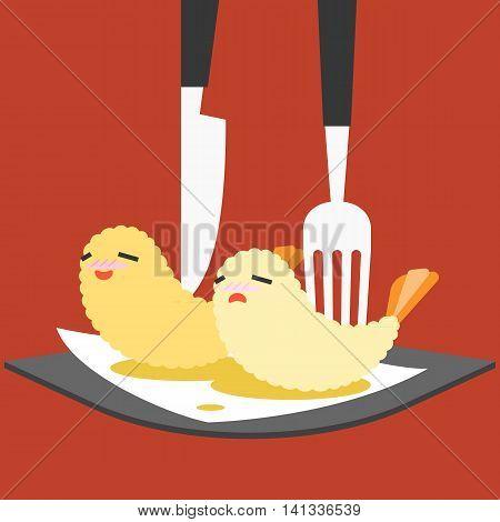 Vector Funny Cartoon Japanese Food, fried shrimp