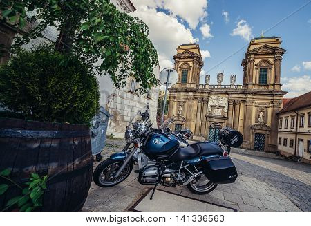 Mikulov Czech Republic - May 17 2015. Motorbike in front of Dietrichstein family tomb in small Mikulov city in South Moravian Region