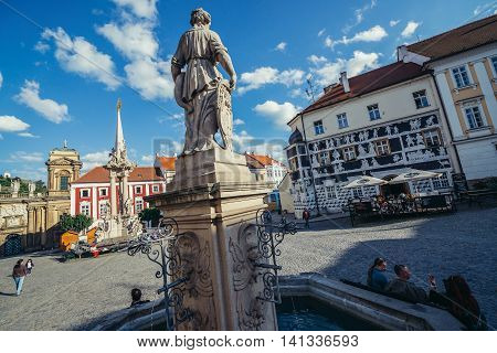 Mikulov Czech Republic - May 17 2015. Main square on the Old Town of small Mikulov city in South Moravian Region. View with fountain Sgraffito haouse and Holy Trinity Statue