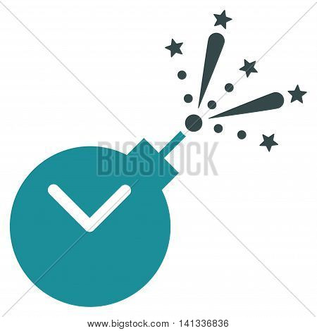 Time Fireworks Charge vector icon. Style is bicolor flat symbol, soft blue colors, rounded angles, white background.