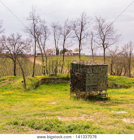 Camouflaged hut used to hunt migratory birds in Italy.