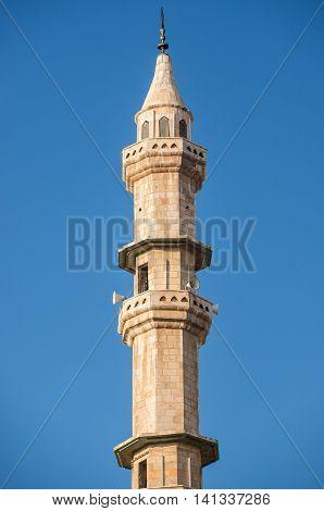 close up on mosque minaret in Amman city Jordan