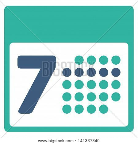 Organizer Week vector icon. Style is bicolor flat symbol, cobalt and cyan colors, rounded angles, white background.