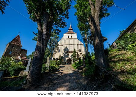 Ropemakers Tower and Church on the Hill in Sighisoara town in Romania