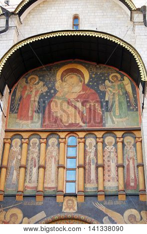 Assumption church facade. Moscow Kremlin. UNESCO World Heritage Site.