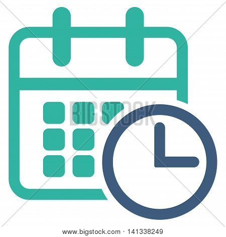 Timetable vector icon. Style is bicolor flat symbol, cobalt and cyan colors, rounded angles, white background.