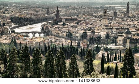 Panoramic view of the historic center of Verona crossed by the Adige river.