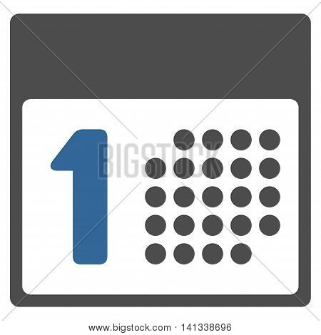 First Day vector icon. Style is bicolor flat symbol, cobalt and gray colors, rounded angles, white background.