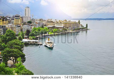 Early morning view of Geneva lake coast. Montreux. Switzerland.
