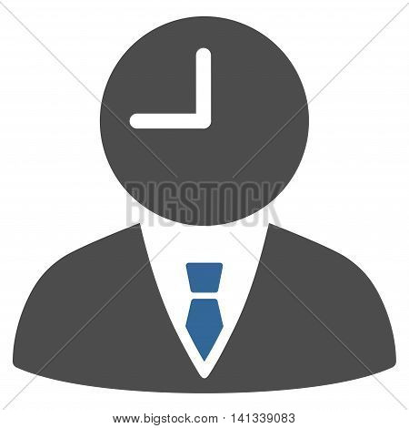Time Manager vector icon. Style is bicolor flat symbol, cobalt and gray colors, rounded angles, white background.