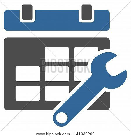 Timetable Settings vector icon. Style is bicolor flat symbol, cobalt and gray colors, rounded angles, white background.
