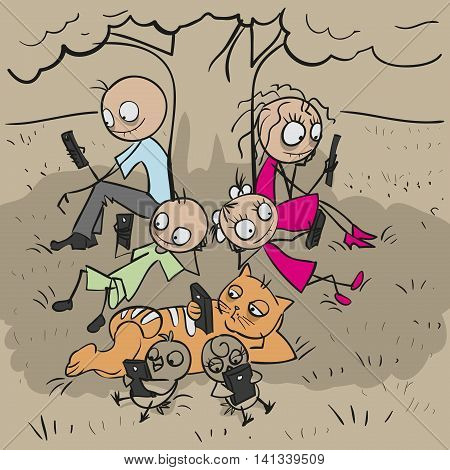 Big family under tree. Everyone looks at phone. Vector cartoon illustration
