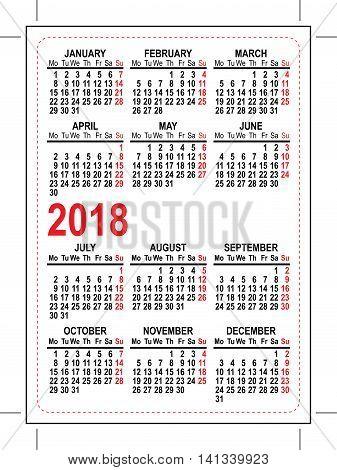Grid pocket calendar 2018. Illustration in vector format