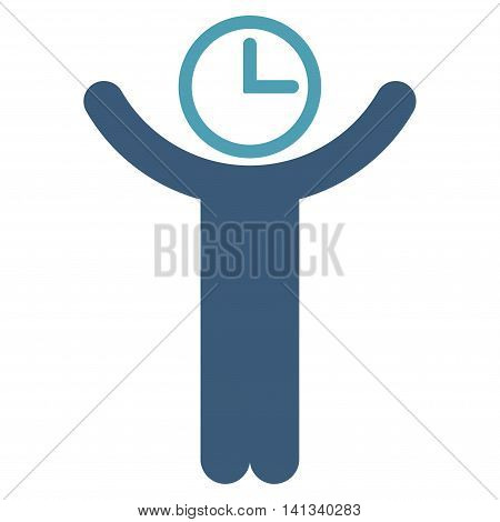 Time Manager vector icon. Style is bicolor flat symbol, cyan and blue colors, rounded angles, white background.