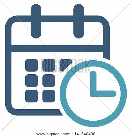 Timetable vector icon. Style is bicolor flat symbol, cyan and blue colors, rounded angles, white background.