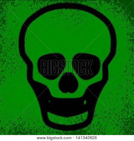 A human skull in halftone grunge effect over a green background