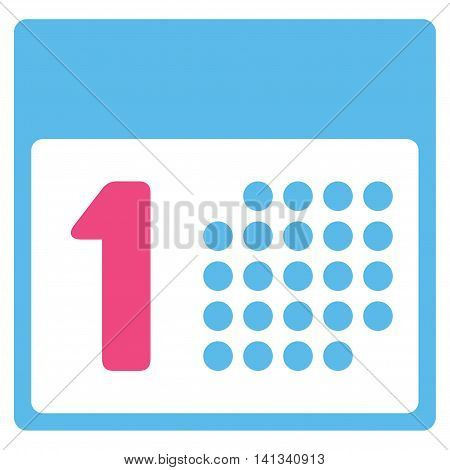 First Date vector icon. Style is bicolor flat symbol, pink and blue colors, rounded angles, white background.