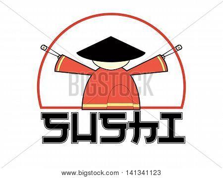 Sushi logo. Samurai holding chopsticks with sushi. Isolated illustration. Vector.