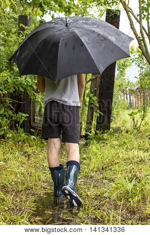 Child in rubber boots goes on a footpath to the wicket through a puddle in the rain under a black an umbrella on a background green