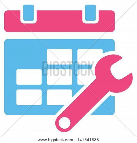 Timetable Tuning vector icon. Style is bicolor flat symbol, pink and blue colors, rounded angles, white background.